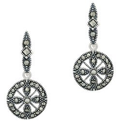 Glitzy Rocks Sterling Silver Marcasite Disc Dangle Earrings