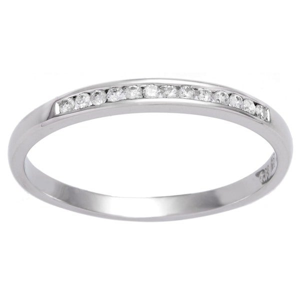 Miadora 10k White Gold 1/8ct TDW Classic Diamond Band