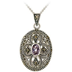Glitzy Rocks Sterling Silver Marcasite and Amethyst Oval Locket