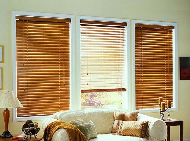 Golden Oak Real Wood Blinds (53 in. x 64 in.)