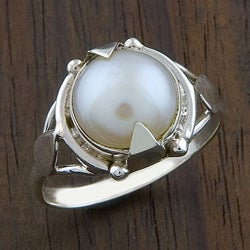 Sterling Silver Freshwater Pearl Ring (10 mm) (India)