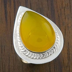 Sterling Silver Rare Yellow Onyx 'Teardrop' Ring (India)
