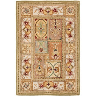 Transitional Handmade Classic Empire Wool Panel Rug (5' x 8')