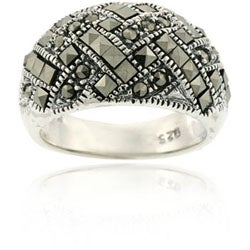 Glitzy Rocks Sterling Silver Marcasite Criss-cross Ring