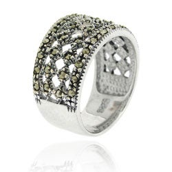 Glitzy Rocks Sterling Silver Vintage-style Marcasite Ring