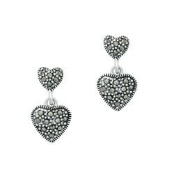 Glitzy Rocks Sterling Silver Marcasite Heart Dangle Earrings