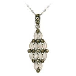 Glitzy Rocks Silver Art Deco Marcasite and Mother of Pearl Cluster Necklace