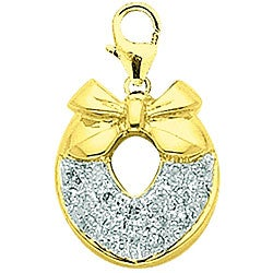 14k Yellow Gold Diamond Wreath Charm