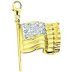 14k Yellow Gold Diamond American Flag Charm