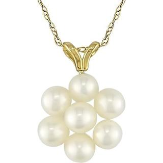 M by Miadora 10k Gold Cultured Freshwater Pearl Flower Necklace (4-4.5 mm)