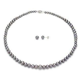 DaVonna Silver Grey FW Pearl Graduated Necklace and Earrings Set (4-8 mm)