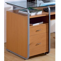 Deluxe Glass-top Computer Desk with File Drawer