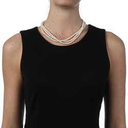 Miadora FW Rice Pearl 18-inch 3-strand Necklace (4-5 mm)
