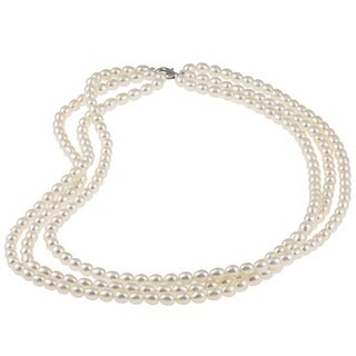 M by Miadora Rice Cultured Freshwater Pearl 18-inch 3-strand Necklace (4-5 mm)
