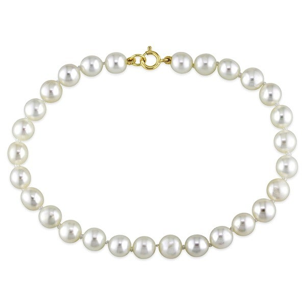 M by Miadora White Cultured Freshwater Pearl Bracelet (4-5mm)