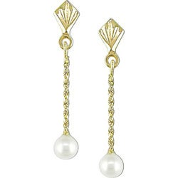 Miadora 10k Yellow Gold Freshwater Pearl Drop Earrings (4-5 mm)