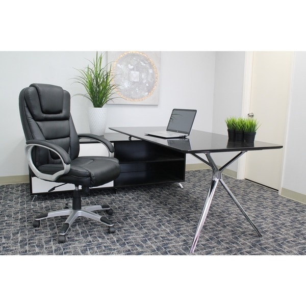 Boss Office Products B8601 Black Executive Leatherplus Chair