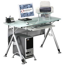 Ergonomic Tempered Glass-top Computer Desk