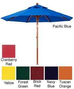 Premium 9-foot Round Wood Patio Umbrella