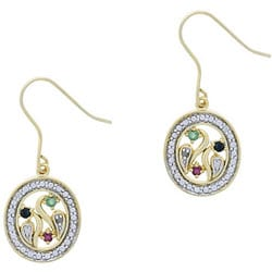 Glitzy Rocks 18k Gold Overlay Multi-gemstone Diamond Earrings
