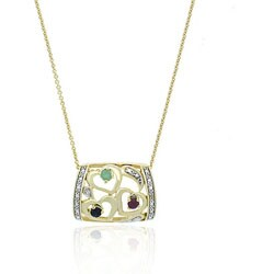 Glitzy Rocks 18k Gold Overlay Multi-gemstone and Diamond Necklace