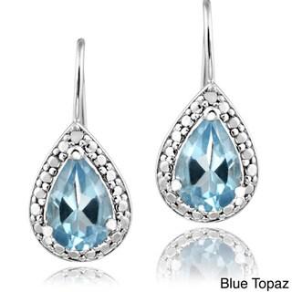 Glitzy Rocks Silver 2 2/5ct TGW Gemstone and Diamond Accent Earrings