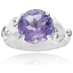 Glitzy Rocks Sterling Silver Genuine Amethyst Ring