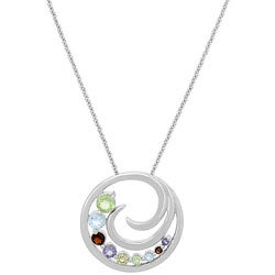 Glitzy Rocks Sterling Silver Multi-gemstone Journey Necklace