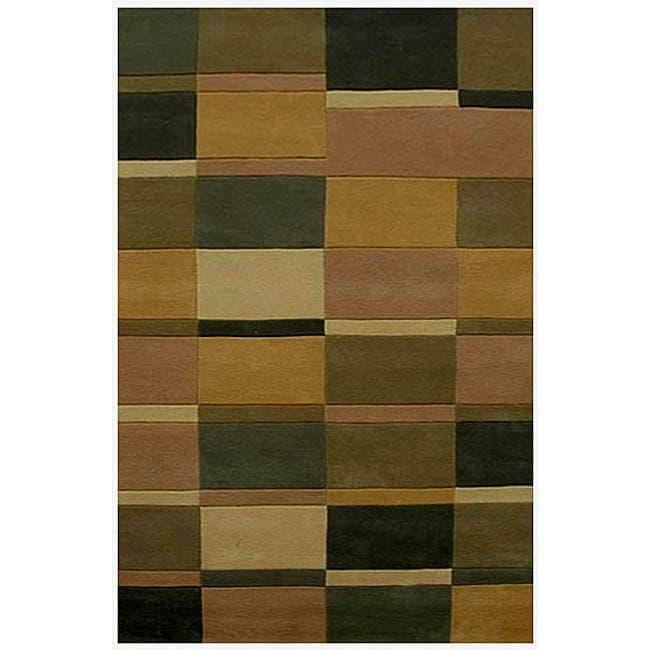 Hand-tufted Multi-tile Wool Rug (8' x 10'6)