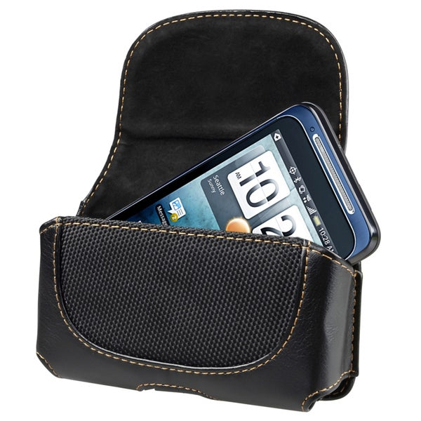INSTEN Universal Rugged Leather Phone Case Cover with Magnetic Flap and Belt Clip