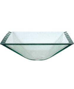 Kraus Aquamarine Square Clear Glass Vessel Sink