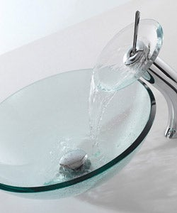 Kraus Clear Glass Vessel Sink/ Chrome Finish Waterfall Bathroom Faucet