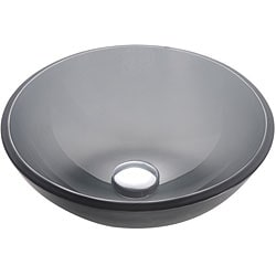 Kraus Frosted Black 14 -inch Glass Vessel Sink with PU-MR Chrome