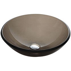 Kraus Frosted Brown 14 -inch Glass Vessel Sink with PU-MR Chrome