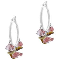 Glitzy Rocks Sterling Silver Cherry Quartz Glass Chip Hoop Earrings