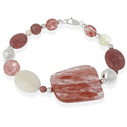 Glitzy Rocks Sterling Silver Cherry Quartz/ Mother of Pearl Bracelet
