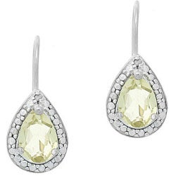 Glitzy Rocks Sterling Silver Lime Quartz Teardrop Earrings