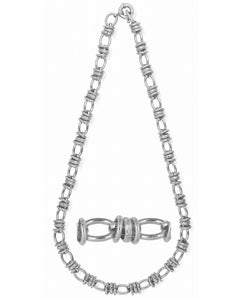 Simon Frank 14k White Gold Overlay 10mm Oval Tie Chain (24-inch)