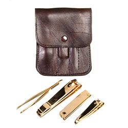 Royce Leather Deluxe Travel-size Manicure Set with Gold-toned Tools