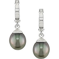 Miadora 14k White Gold Tahitian Pearl Drop Earrings (9-10 mm)