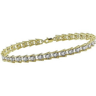Miadora 10k Gold 1ct TDW Diamond Tennis Bracelet (I-J-I3)