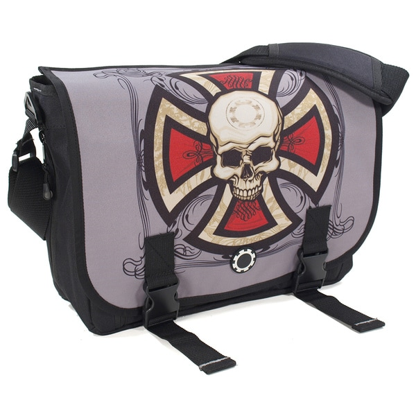 DadGear Skull and Cross Messenger Diaper Bag