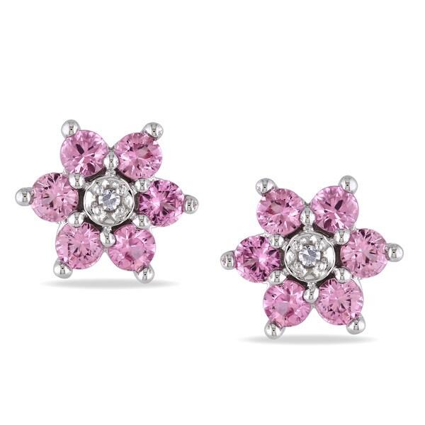 Miadora 10k Gold Pink Sapphire and Diamond Flower Earrings