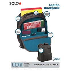Solo Vintage 15.4-inch Leather Laptop Backpack