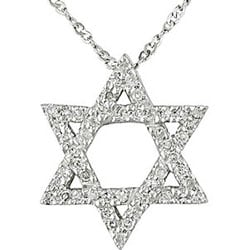 Miadora 10k White Gold 1/6ct TDW Star of David Diamond Necklace
