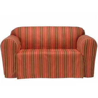 Boulevard Stripe Microsuede Sofa Drop Skirt Slipcover