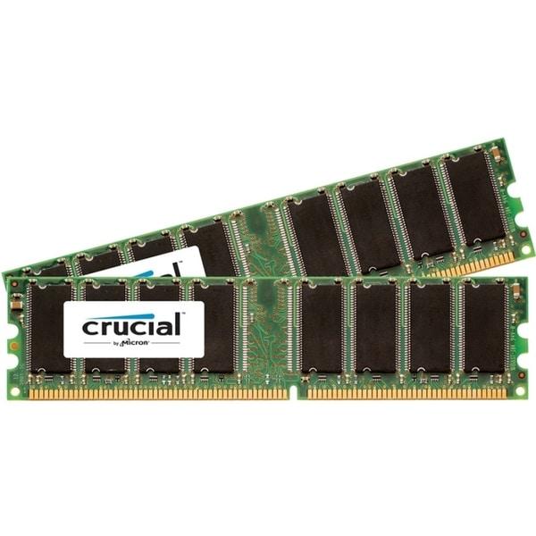 Crucial 1GB Kit (512MBx2), 184-pin DIMM, DDR PC3200 Memory Module