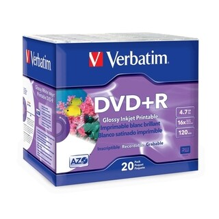 Verbatim DVD+R 4.7GB 16X White Glossy Inkjet Printable with Branded H