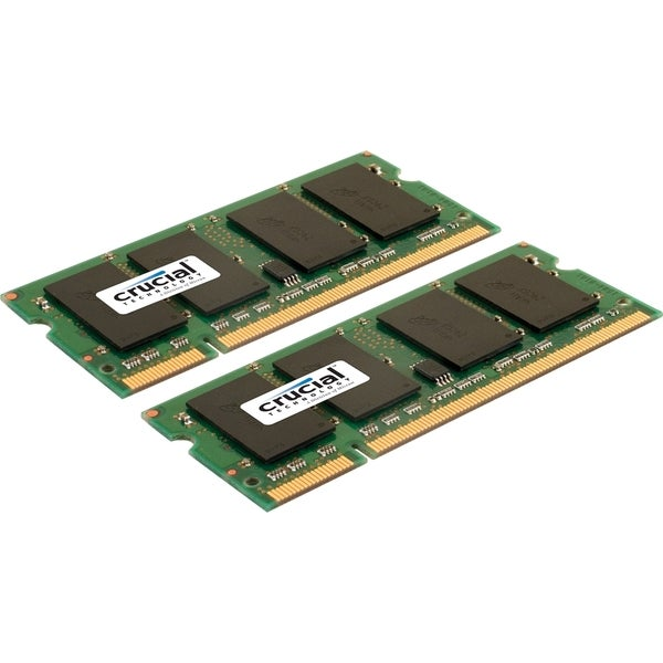 Crucial 2GB kit (1GBx2), 200-pin SODIMM, DDR2 PC2-6400 memory module