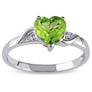 Miadora 10k Gold Heart-shaped Peridot and Diamond Ring
